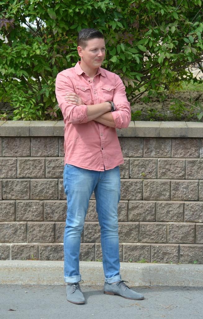 Scotch & Soda, Shirt, East Dane, Michael Kors bracelet, Bulova watch, Forever 21 Skinny Jeans, Aldo Shoes, Black Watch, Pink Shirt