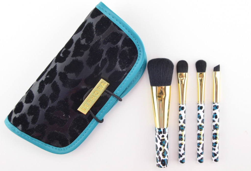 Sephora Collection, Rare Find, Travel Brush Set, Brushes, Blue Brush, Leopard Brushes