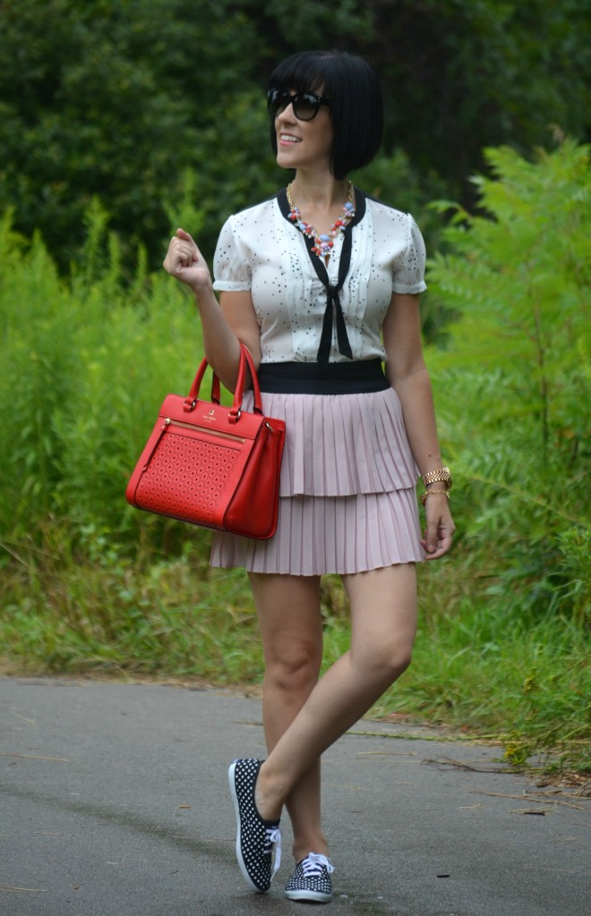 Kate Spade Purse, Red Handbag, Coach Sunglasses, Michael Kors Watch, Rose Gold Watch, Jacob Blouse, Star Tee, Pink Skirt