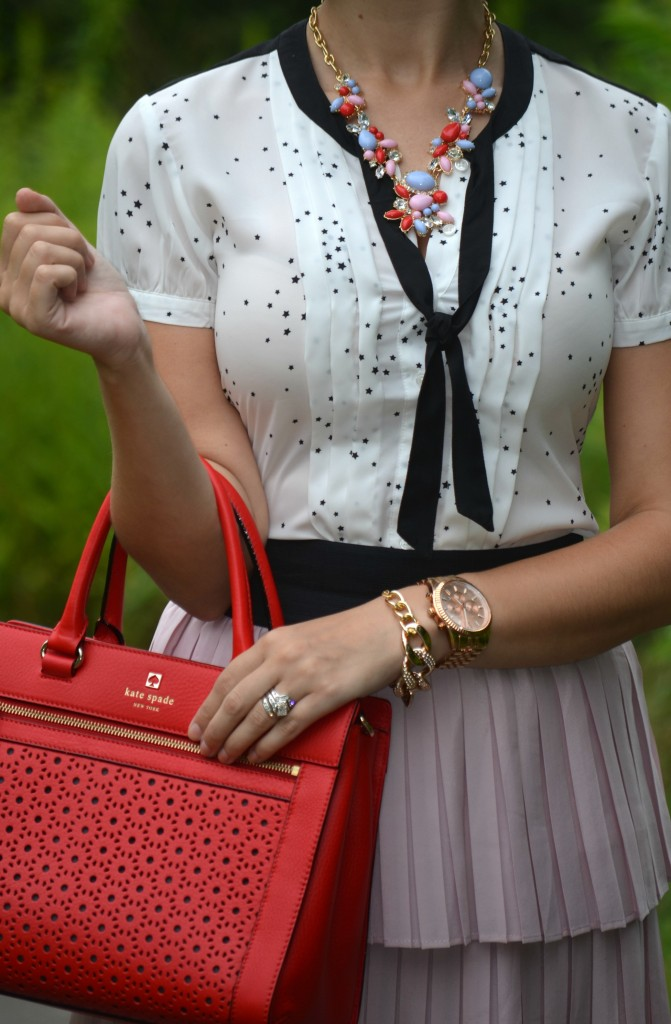 The Red Bow Necklace, Statement Necklace, Red Purse, Michael Kors, Watch, Pink, Star Blouse, Keds, Polka Dot, Polka Dot Keds