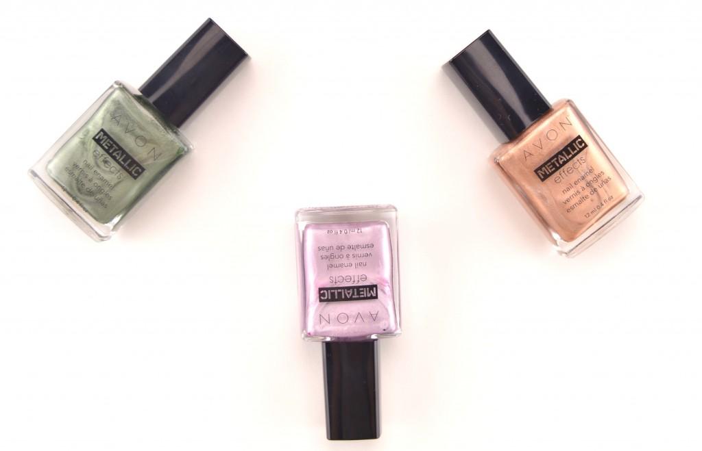Avon, Metallic Effects Nail Enamel, Jade Reflection, Platinum Petal, Copper Gleam, Icy Purple, Gold Leaf, beauty blogger, nail polish swatch, canadian blog