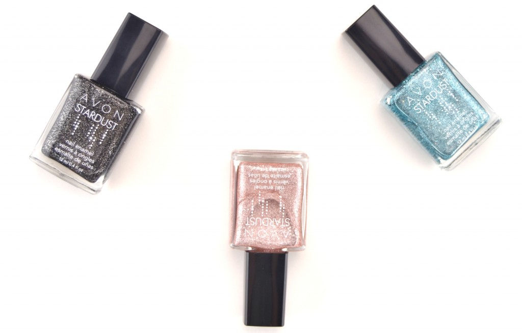Avon, Stardust Nail Enamel, Cherry Dazzle, Crystallized Pink, Jewel Blue, Silver Crystals,  Black Sequins, 3-d nails, shimmery nails, nail art, polish swatches