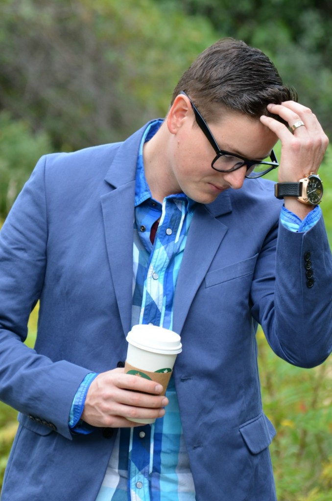 Vince Blazer, East Dane, Plaid Shirt, Guess, Watch, Diesel, Skinny Jeans, Forever 21, Shoes