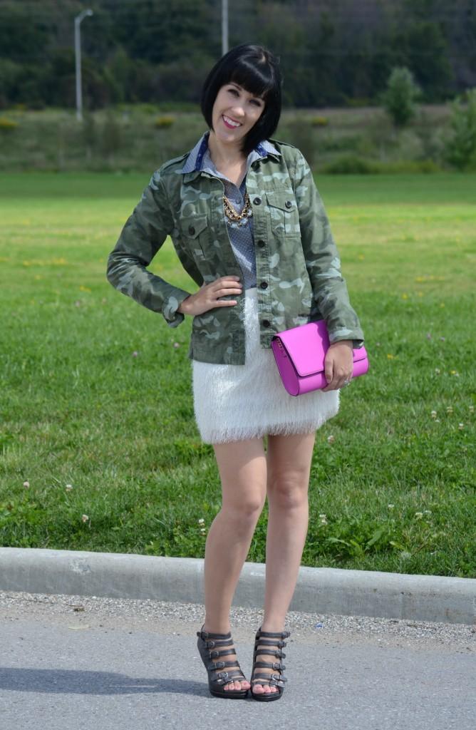 Military Jacket, The Gap, Polka Dot Blouse, Smart Set, Necklace, Avon, Skirt, H&M, Clutch, Urban Originals