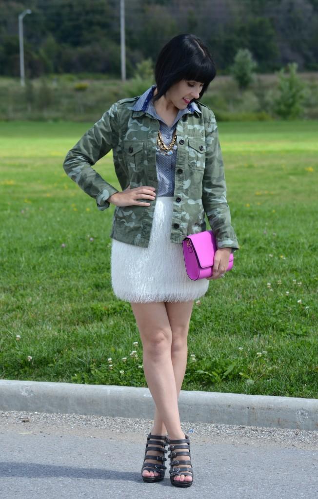 The Gap Military Jacket, Smart Set Polka Dot Blouse, Avon Necklace, H&M Skirt, H&M clutch, Urban Originals Heels, Purple Purse, green jacket