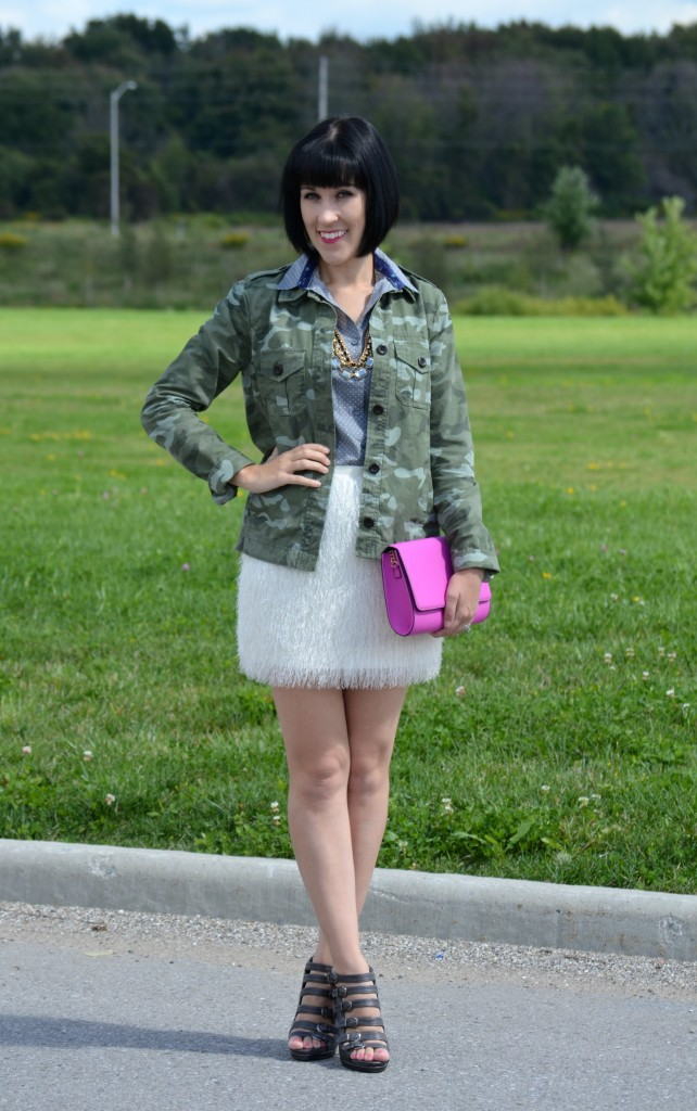Gap Jacket, Smart Set Blouse, Avon Jewelry, White Skirt, Purple Clutch, military jacket, green coat, grey blouse, silver pumps