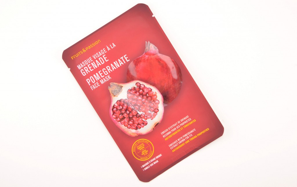 Fruits & Passion, Pomegranate Face Mask, facial mask, pomegranate mask, sheet mask, hydration, deep clean, beauty blogs