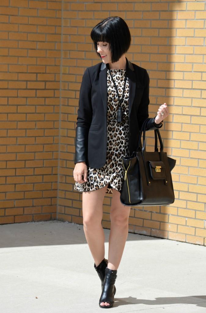 Leopard Dress, Black Purse, Phillip Lim Purse, Avon Boots, fringe necklace, bold watch, leopard print, faux leather