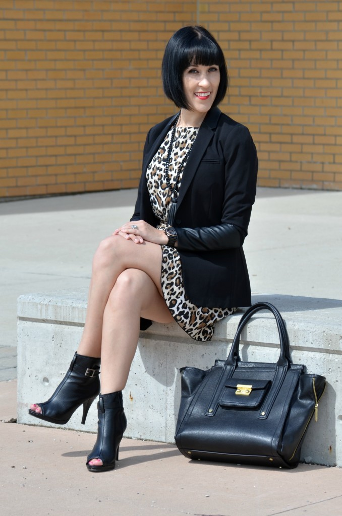 H&M Leopard Dress, Cocoa Jewelry Necklace, Smart Set Black Blazer, Phillip Lim for Target, Avon Booties, Guess Watch, black watch, avon jewelry
