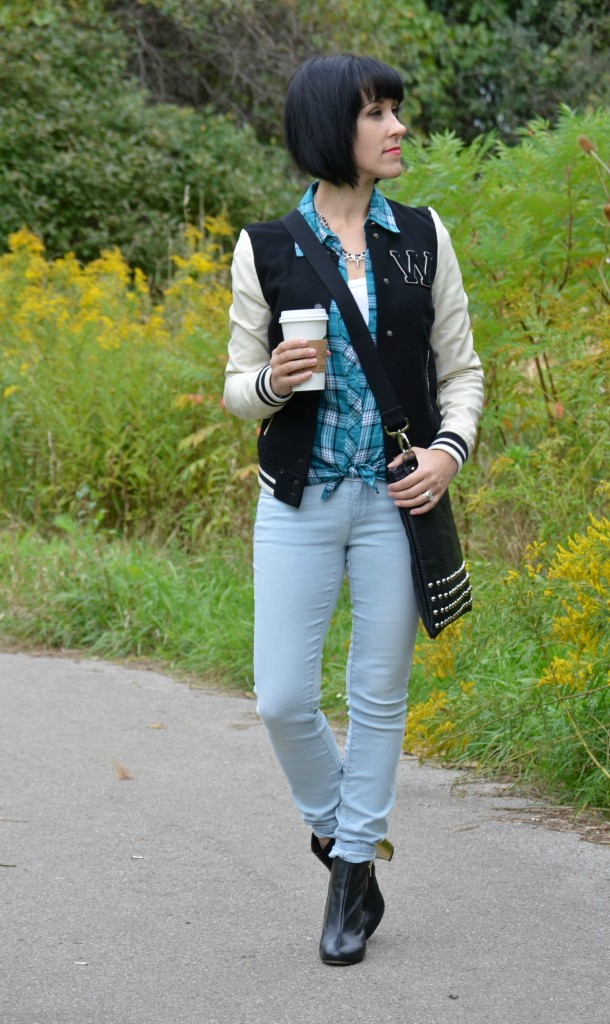 Boots, The Bay, Black Booties, blue plaid, spiked necklace, varsity jacket, black and white coat, nella bella handbag, jeans, smart set style