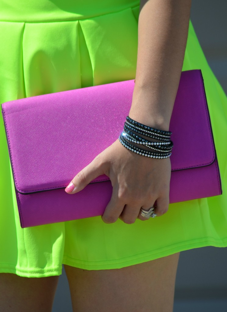 Neon skirt, h&m clutch, black bracelet, wrap bracelet, pink nail polish, short nails, bold and bright