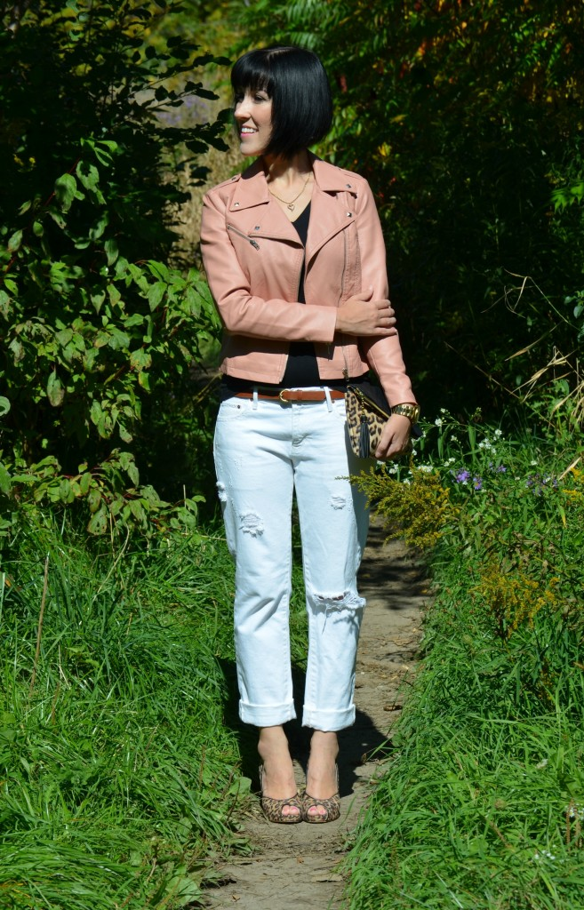 Kate spade handbag, white boyfriend jeans, brown shoes, gap boyfriend denim, white jeans, black tee, short sleeve t-shirt, pink jacket, faux leather coat, Michael kors watch