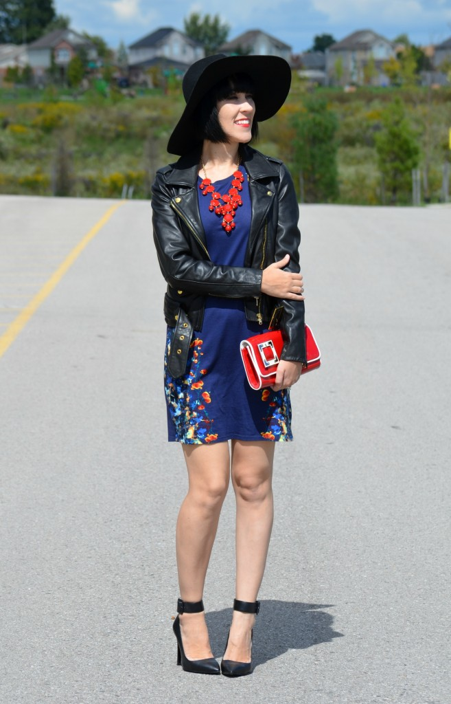 Sarah Stevenson for Target Dress, Chinese Laundry Clutch, H&M Floppy Hat, Aldo Pumps, Red Purse, fashion blog