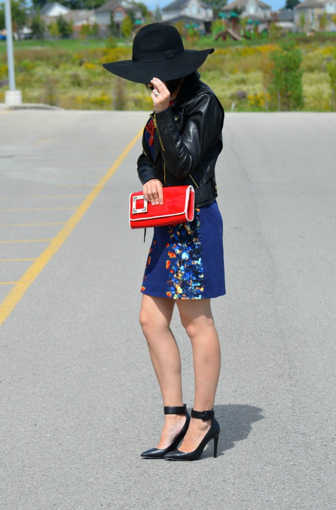 fashion blogger, canadian fashionista, canada blog, candian, red handbag, big hat, danier leather jacket, biker jacket, danier