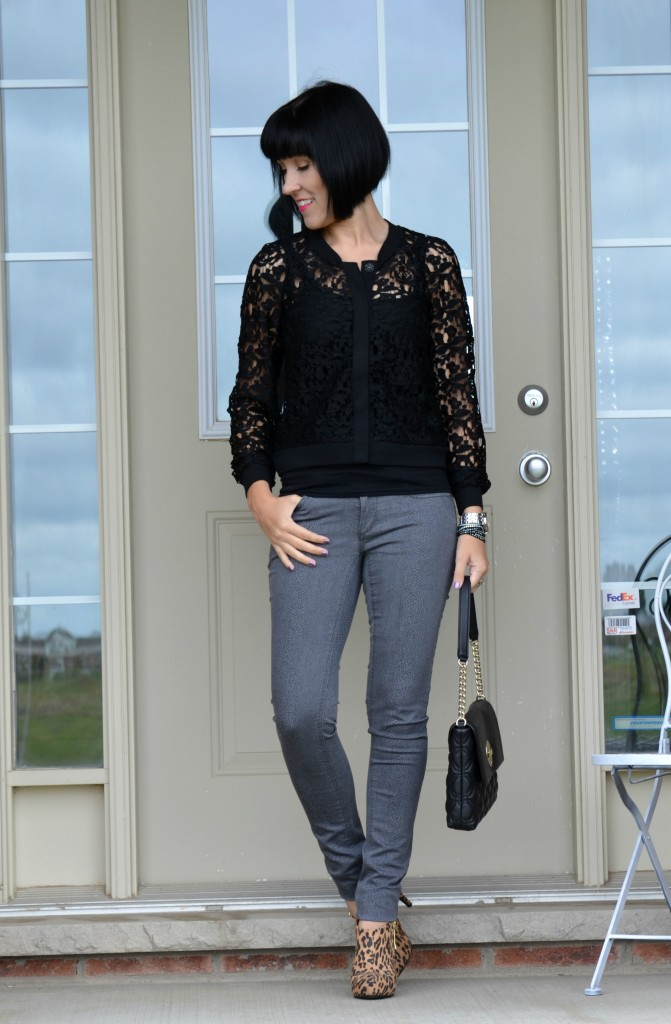 Black Tank Top, Lace Sweater, Black Purse, Kate Spade Handbag, Silver Watch, Grey Jeans, Leopard Print, Leopard Boots, Payless Boots