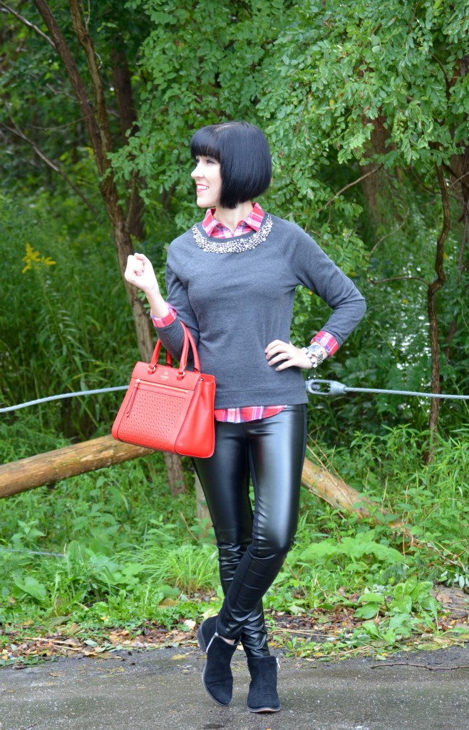 Smart Set Plaid Shirt, Smart Set Embellished collar sweater, Kate Spade Handbag, Cocoa Jewelry Bracelet, Caravelle New York Watch, Smart Set Faux Leather Leggings, Town Shoes booties, Fashion Blogger, Canadian Blog, Makeup Blogger