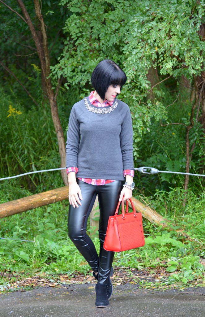 Plaid Shirt, Smart Set, Embellished collar sweater, Handbag, Kate Spade, Bracelet, Cocoa Jewelry, Watch,  Caravelle New York, Faux Leather Leggings