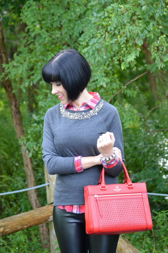 Booties, Town Shoes, Plaid, Collar Sweater, Grey Sweater, Purse, Red Handbag, Beaded Bracelet, Jewelry, Silver Watch
