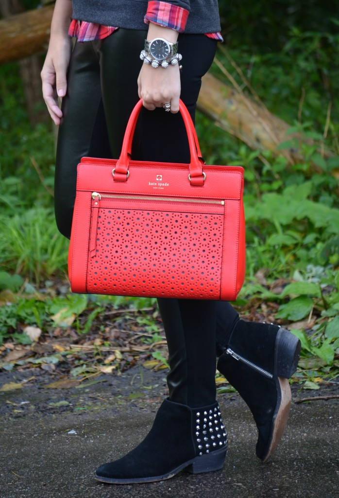 true canadian, canadian fashion blogger, canadian fashion blogs, canadian, kate spade, red purse, black booties, faux leather pants