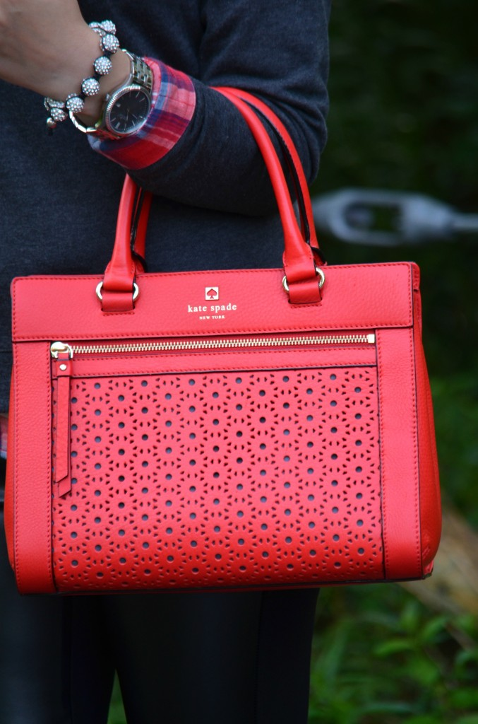 Grey sweater, red purse, kate spade handbag, plaid sweater, fall outfit ideas 2014, 2014 style, fashion blogs, makeup bloggers