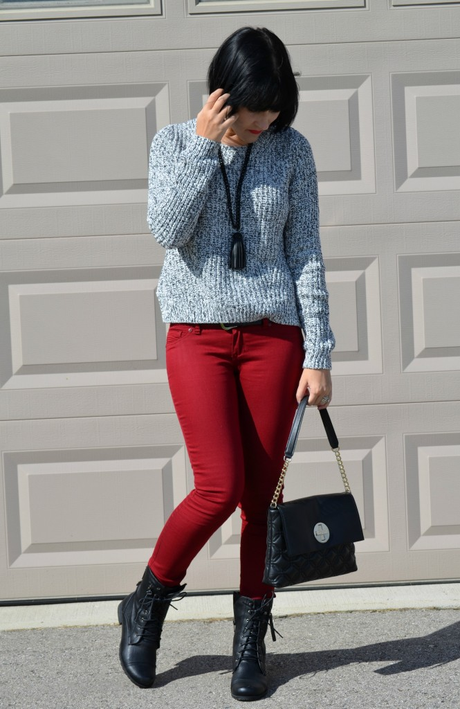 What I Wore, Sweater, H&M, Necklace, Cocoa Jewelry, Purse, Kate Spade, Belt, Smart Set, Skinny Jeans,