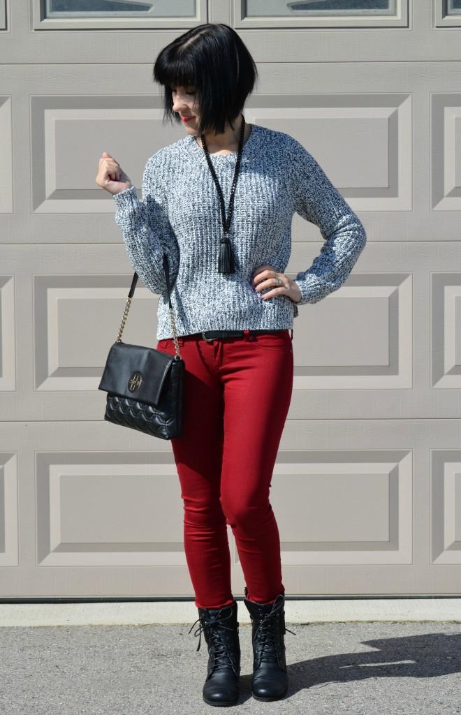 H&M Sweater, Cocoa Jewelry Necklace, Kate Spade Purse, Smart Set Jeans, Black Belt, Black Boots