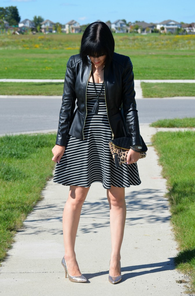 Dress, Smart Set, Necklace, Cocoa Jewelry, Faux Leather Jacket, H&M, Clutch,  Jessica Simpson, Sparkly Heels, Guess, DSW Canada