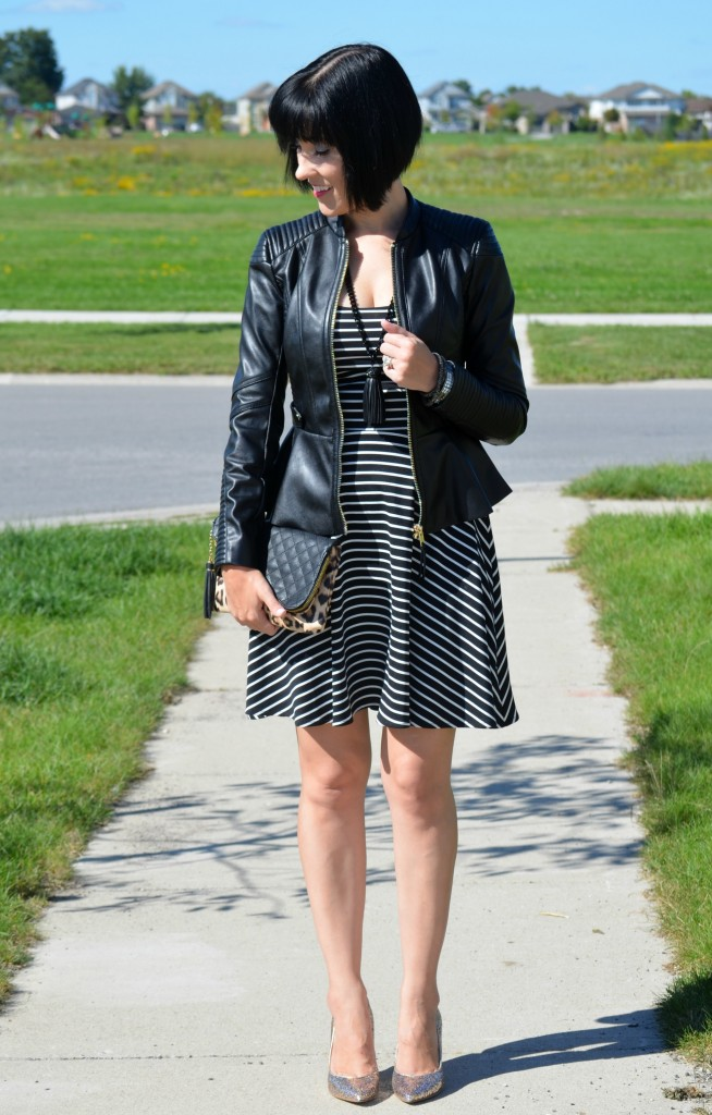 Smart Set Dress, Cocoa Jewelry Necklace, H&M Faux Leather Jacket, Faux Leather, Jessica Simpson Clutch, Guess Sparkly Heels, DSW Canada