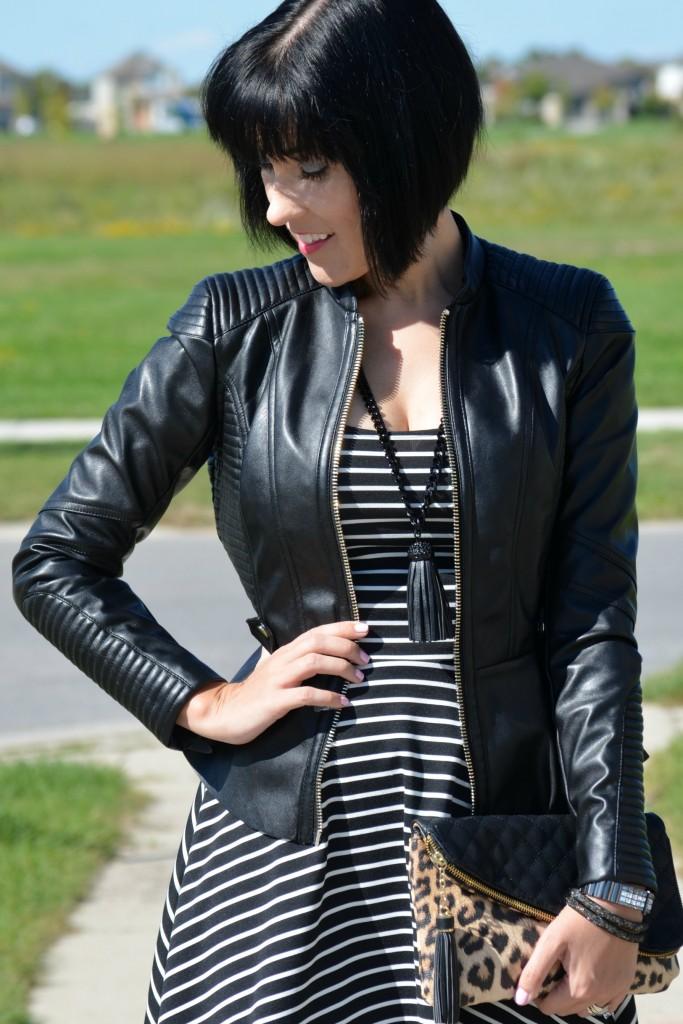 leather blazer, leather jacket, tassle necklace, black on black, black is the new black, pretty dress, leopard clutch, anmal print