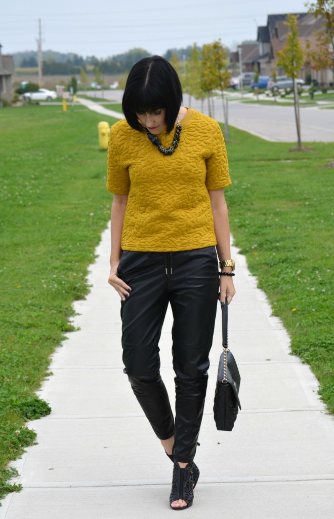 What I Wore, Mustard Sweater, H&M, Purse, Kate Spade, Necklace, Very Valero , Watch, Michael Kors