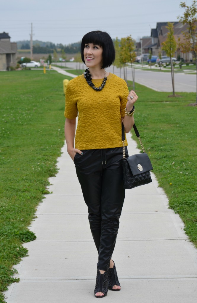 H&M Sweater, Kate Spade Purse, Very Velero Necklace, Michael Kors Watch, Cocoa Jewelry Bracelet, Leather joggers, DWS Booties