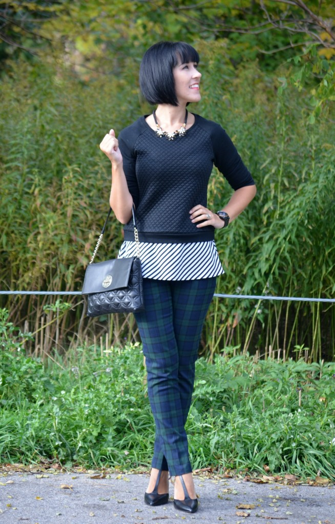 Cropped Sweater, Smart Set, Stripped Blouse, Necklace, Purse, Kate Spade, Watch, Guess, Skinny Jeans,  Shoes, Nine West