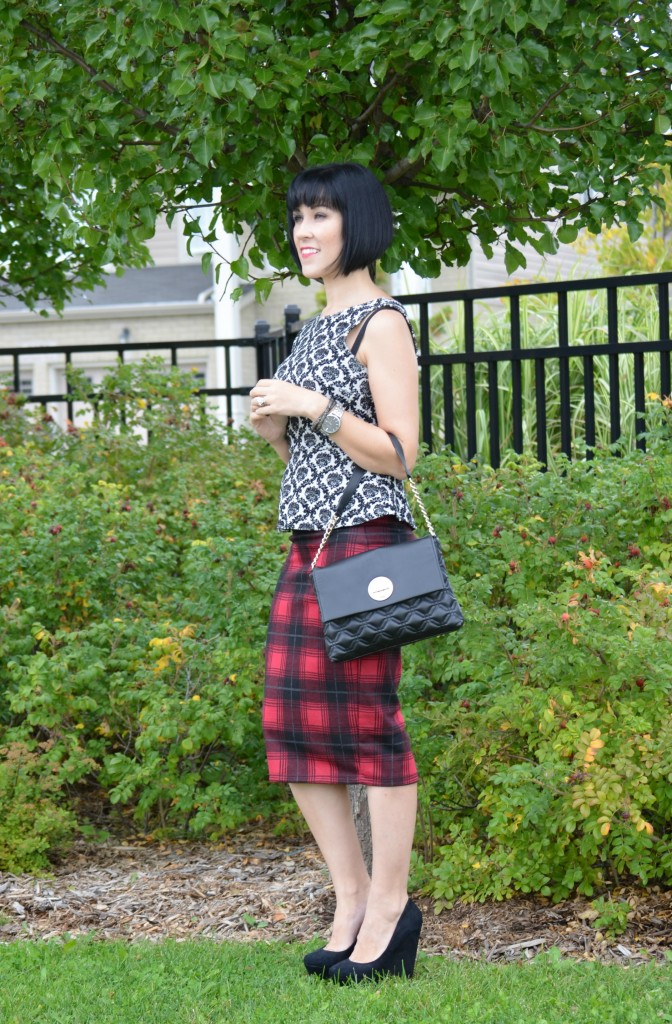 What I Wore, Peplum Top, Smart Set, Purse, Kate Spade, Plaid Skirt, Wedges, Aldo