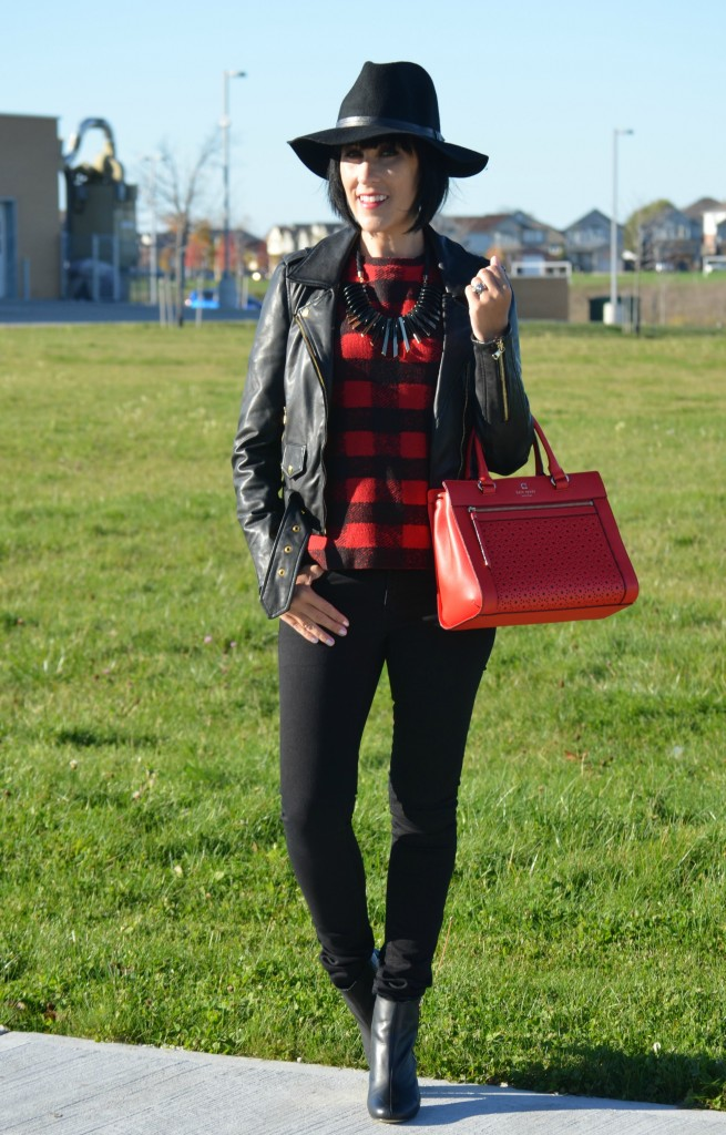 Red Tartan, joe fresh sweater, fedora, black hat, kate spade purse, red handbag, red purse, black necklace, black leather, gold boots, tartan print