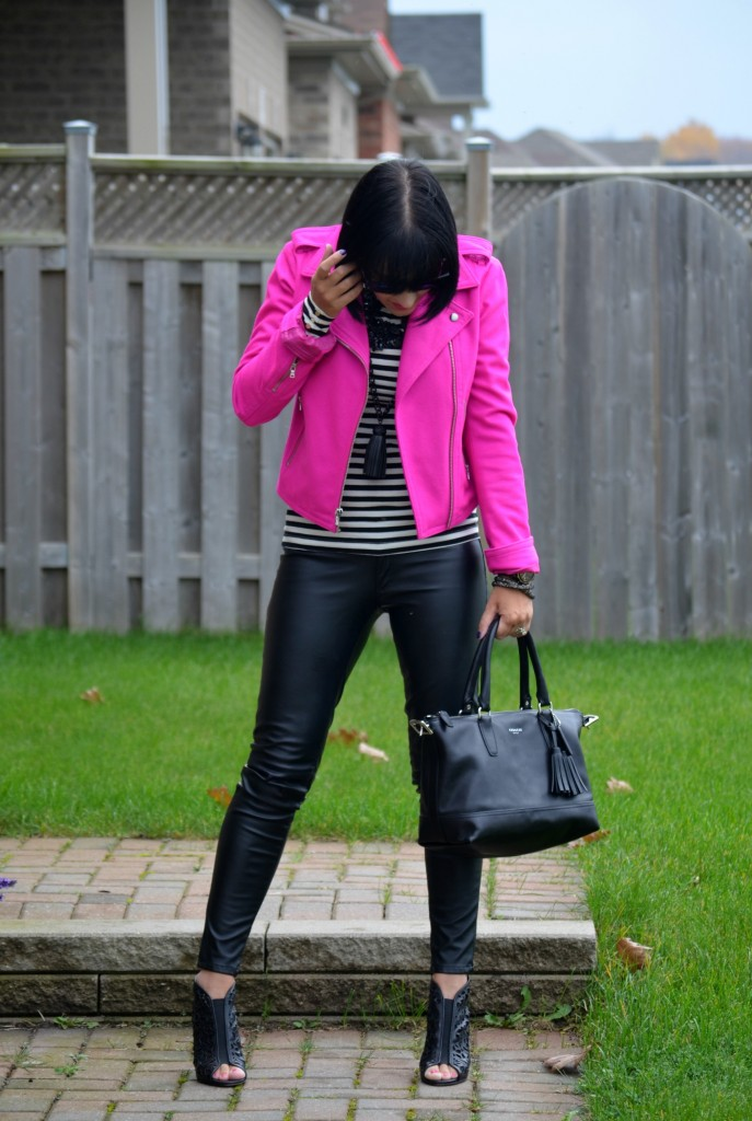What I Wore, stripped Tee, H&M top, pink Jacket, The Gap blazer, purple sunglasses, Oakley sunglasses, black purse, Coach handbag
