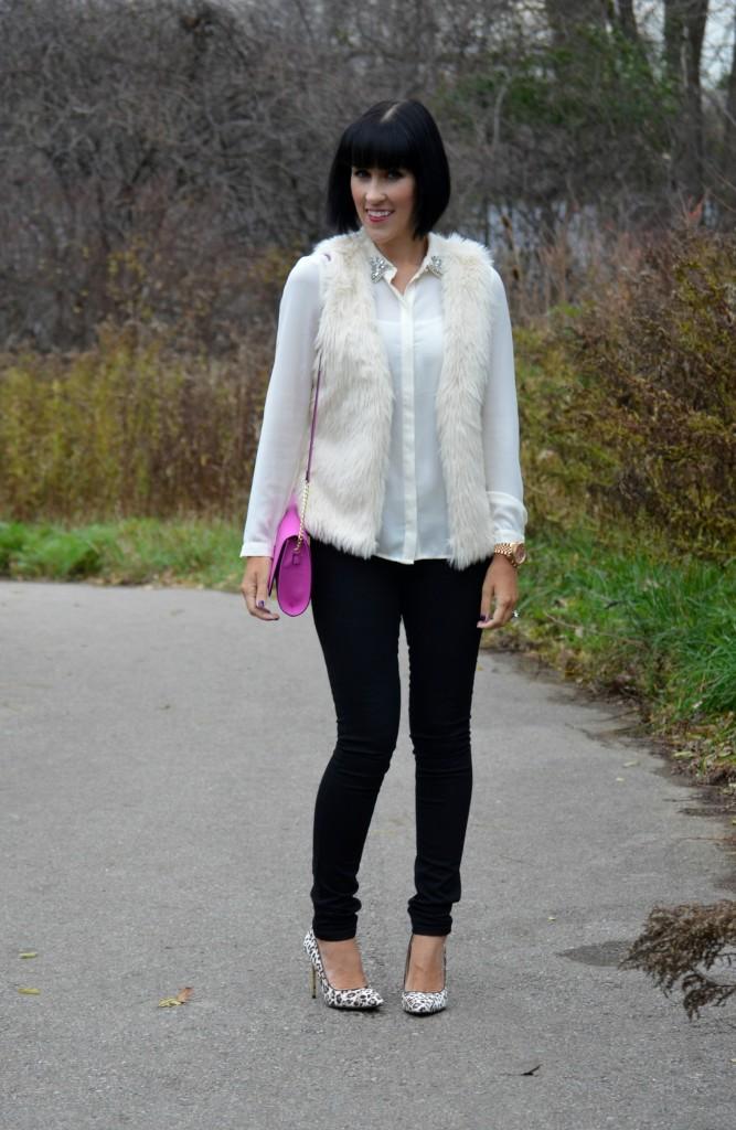 Blouse, Forever 21, faux fur vest, H&M, Watch, Michael Kors, Purse, jeans, Smart Set, Animal print pumps, Nine West