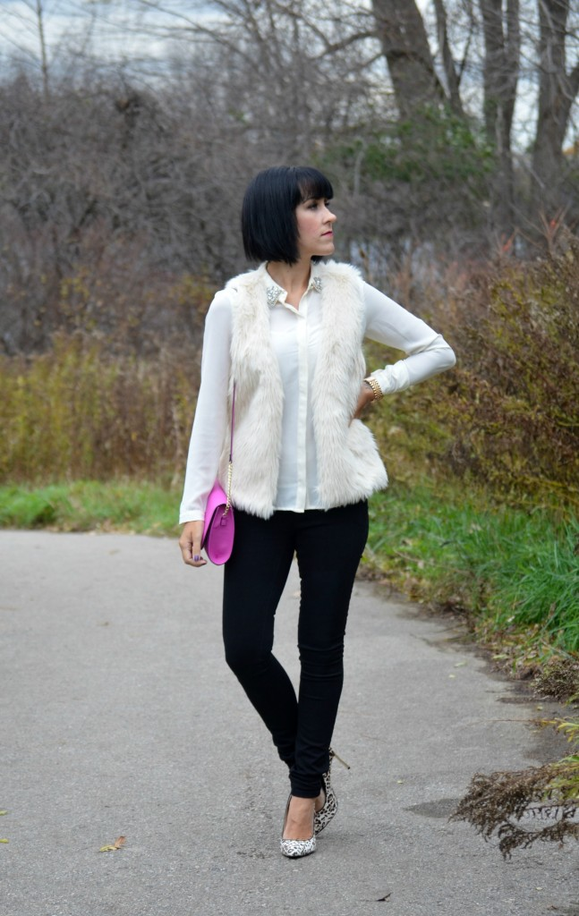 Blouse, Forever 21, faux fur vest, H&M, Watch, Michael Kors, Purse, jeans, Smart Set, Animal print pumps, Nine West
