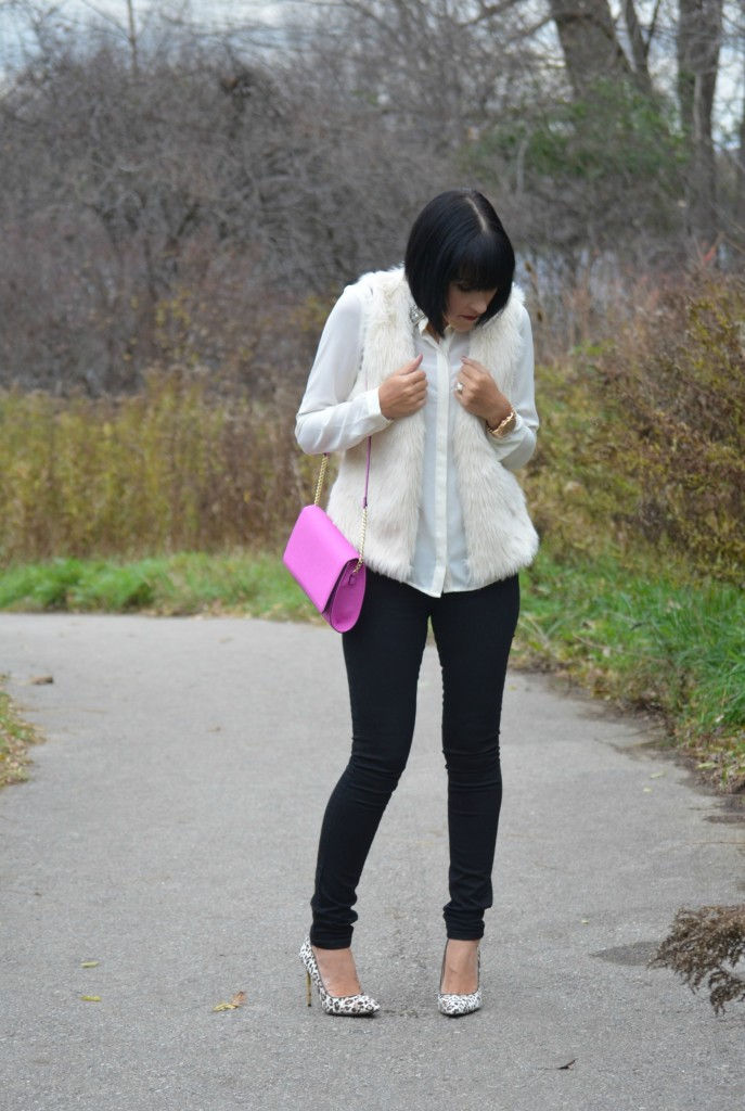 winter white Blouse, Forever 21 blouse, h&M faux fur vest, H&M vest, gold Watch, Michael Kors watch, purple Purse, black jeans, Smart Set jeans, Animal print shoes, Nine West pumps