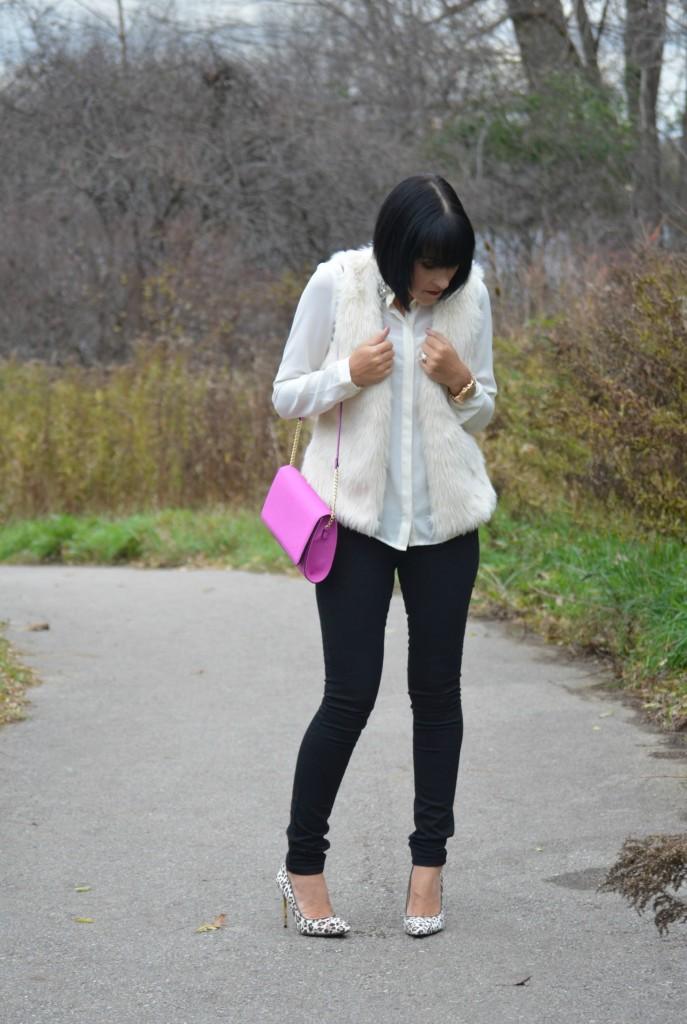 winter white Blouse, Forever 21 blouse, h&M faux fur vest, H&M vest, gold Watch, Michael Kors watch, purple Purse, black jeans, Smart Set jeans, Animal print shoes, Nine West pumps