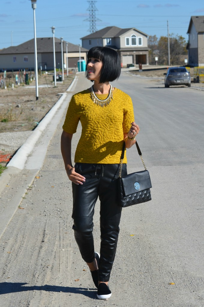 World MasterCard Fashion Week day 2, Top, H&M, purse,  Kate Spade, Necklace, Cocoa Jewelry, watch, Guess, Faux Leather Joggers