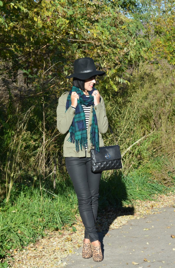 What I Wore, Shirt, H&M, Military green jacket, Purse, Kate Spade, Hat, Scarf, Waxed Jeans, Booties, Payless