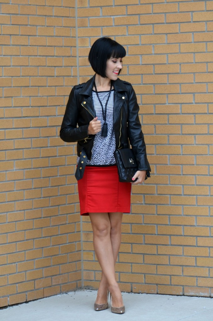 Skirt, Rickis, Gold Sparkly Pumps, DWS Canada, smart set top, danier leather jacket, kate spade purse, cocoa jewelry necklace, leather jacket, moto jacket