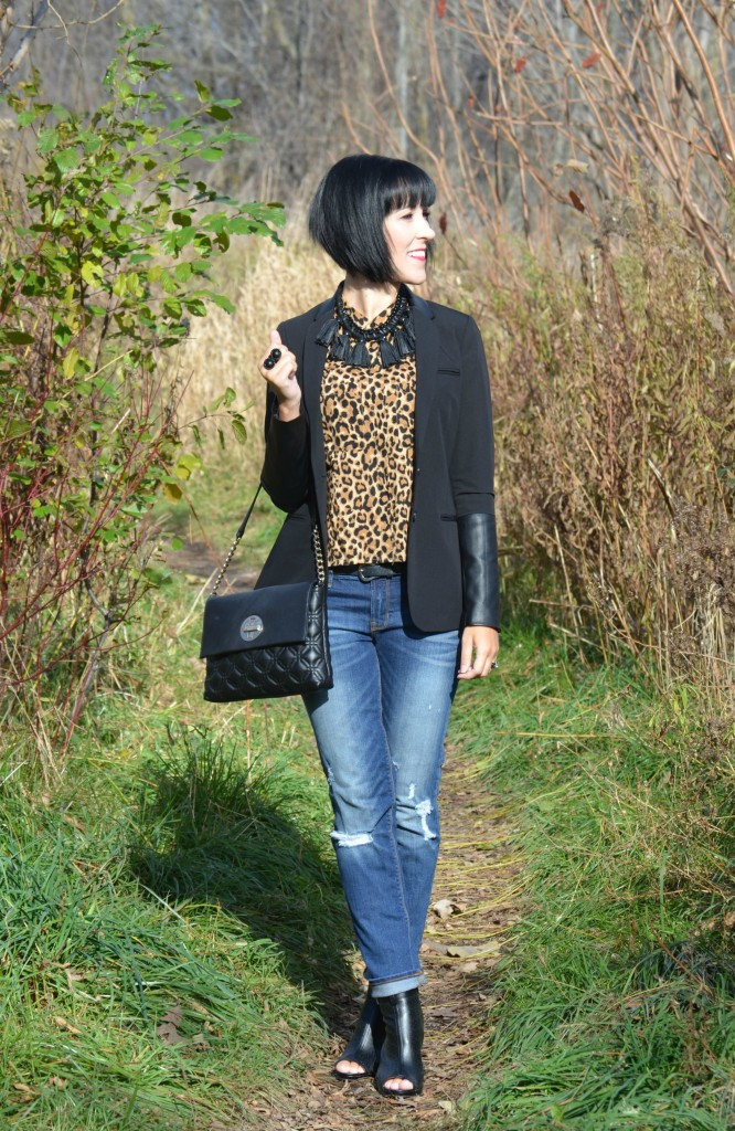 What I Wore, Animal Print Blouse, H&M, Necklace,  Ring, Cocoa Jewelry, Blazer, Smart Set, Purse, Kate Spade