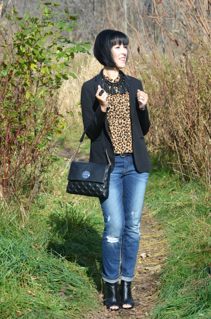 Boyfriend Jeans, The Gap, Booties, Avon, cheetah print, gap jeans, avon booties, black boots, open-toe, faux leather blazer, animal print blouse, how to wear cheetah print