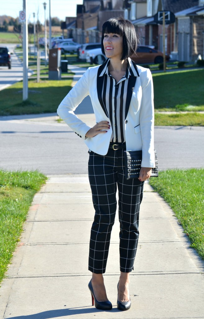 What I Wore, Blouse, H&M, blazer, Clutch, Nella Bella, windowpane pants, Smart Set, Pumps, Christian Louboutin