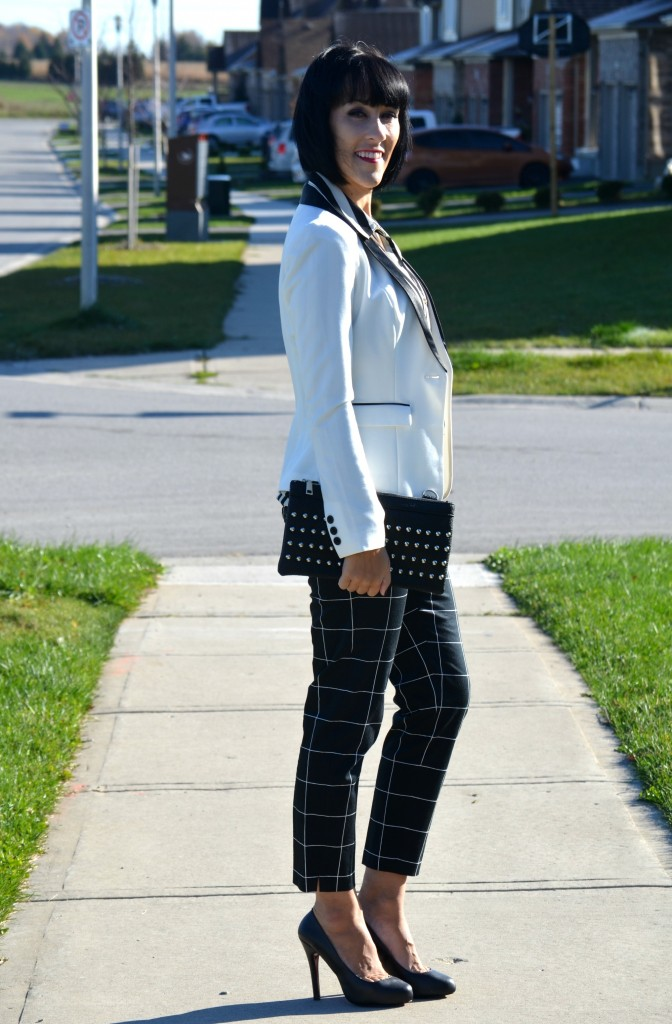 What I Wore, H&M Blouse, H&M blazer, Nella Bella Clutch, black windowpane pants, Smart Set pants, Christian Louboutin pumps