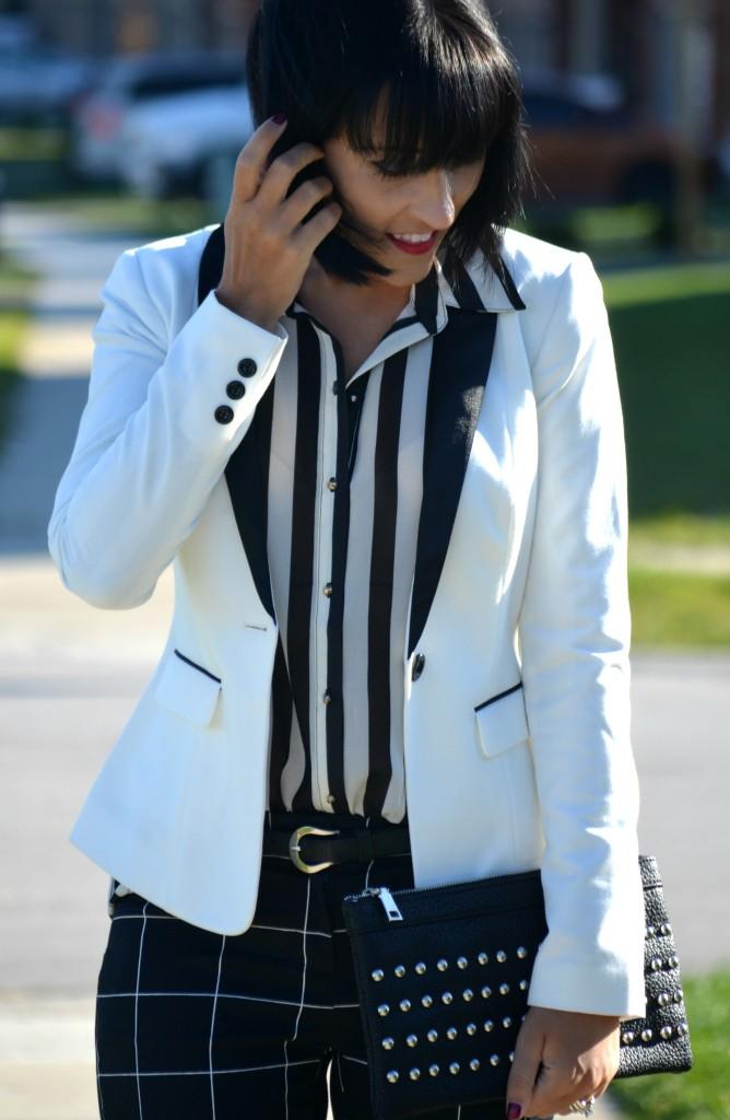 What I Wore, Blouse, H&M, blazer, Clutch, Nella Bella, windowpane pants, Smart Set, Pumps, Christian Louboutin