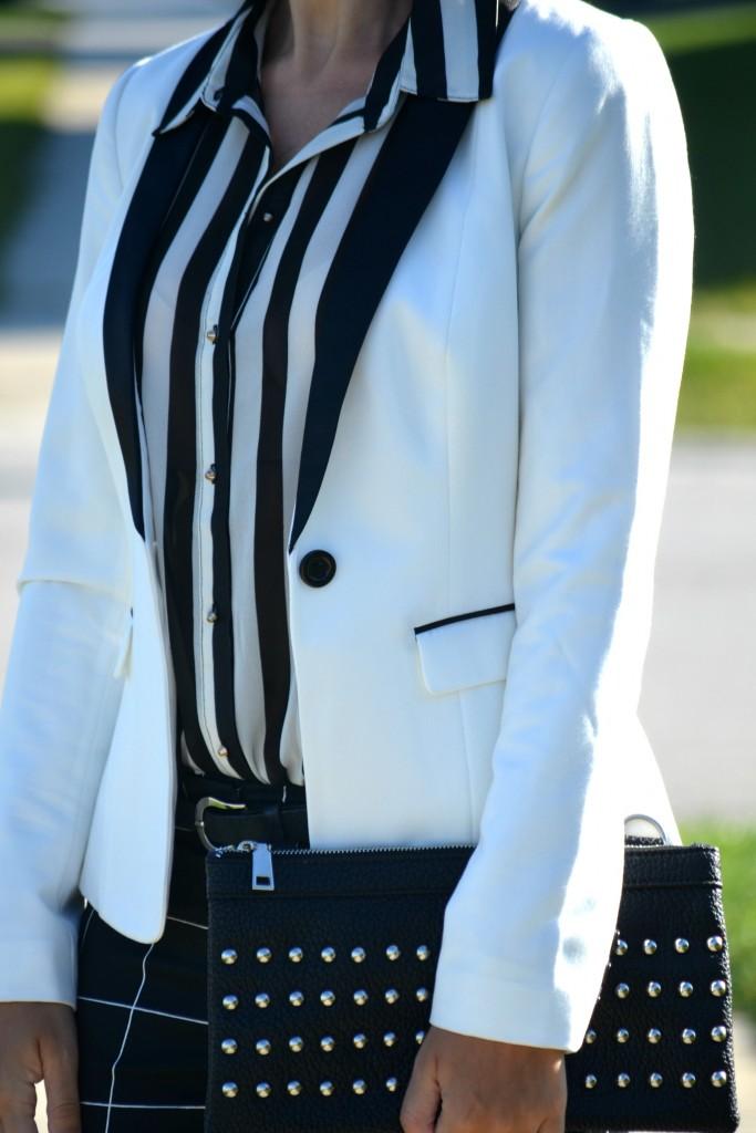 What I Wore, H&M Blouse, H&M blazer, Nella Bella Clutch, black windowpane pants, Smart Set pants, Christian Louboutin pumps