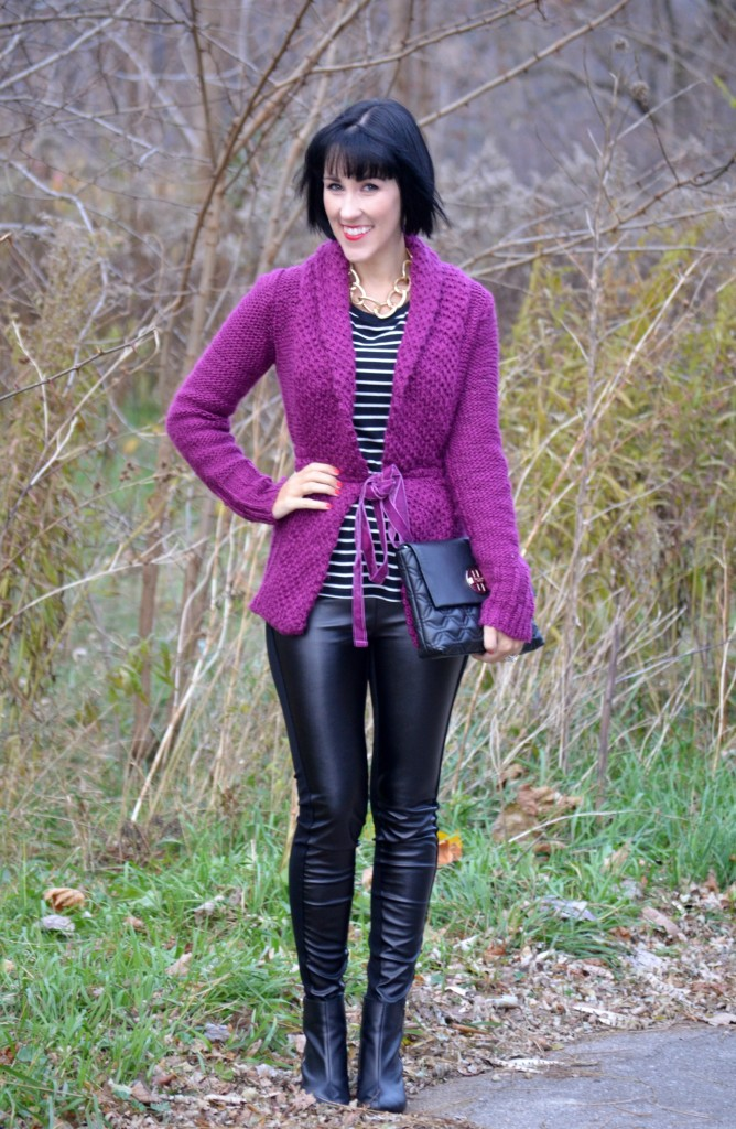 What I Wore, Top, Joe Fresh, Sweater,  Mango, Purse, Kate Spade, Faux Leather Pants, Smart Set, Booties, The Bay