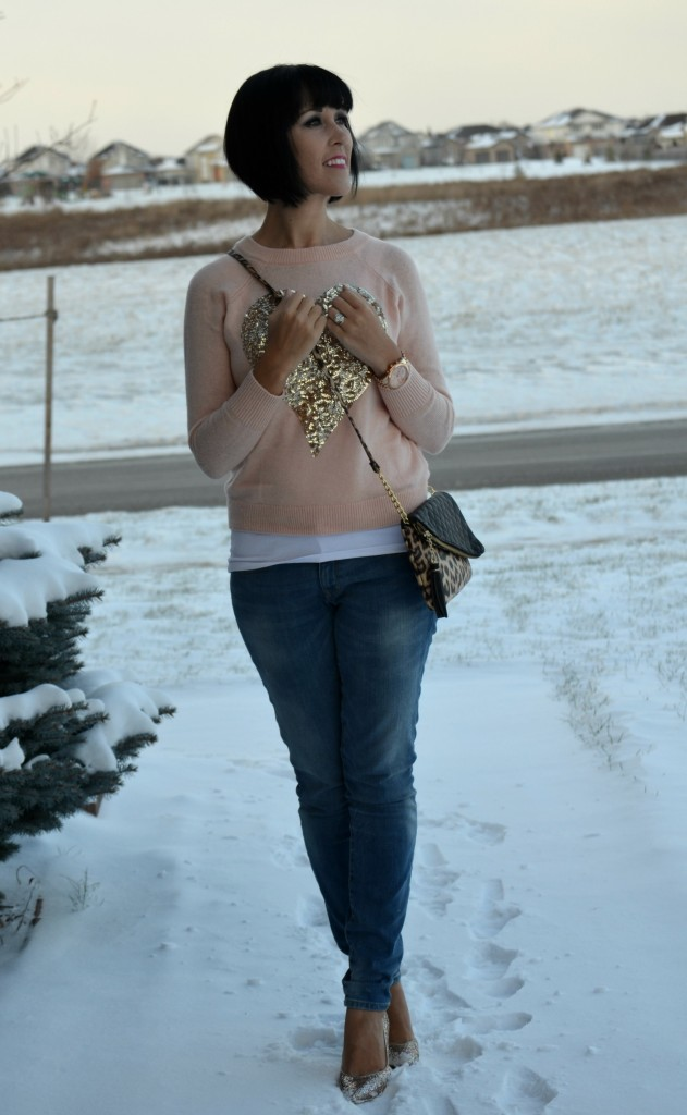 H&M sweater, Jessica simpson purse, Michael kors purse, the gap jeans, guess sparkly pumps, pink sweater, leopard purse, gold watch, boyfriend jeans, sparkly heels